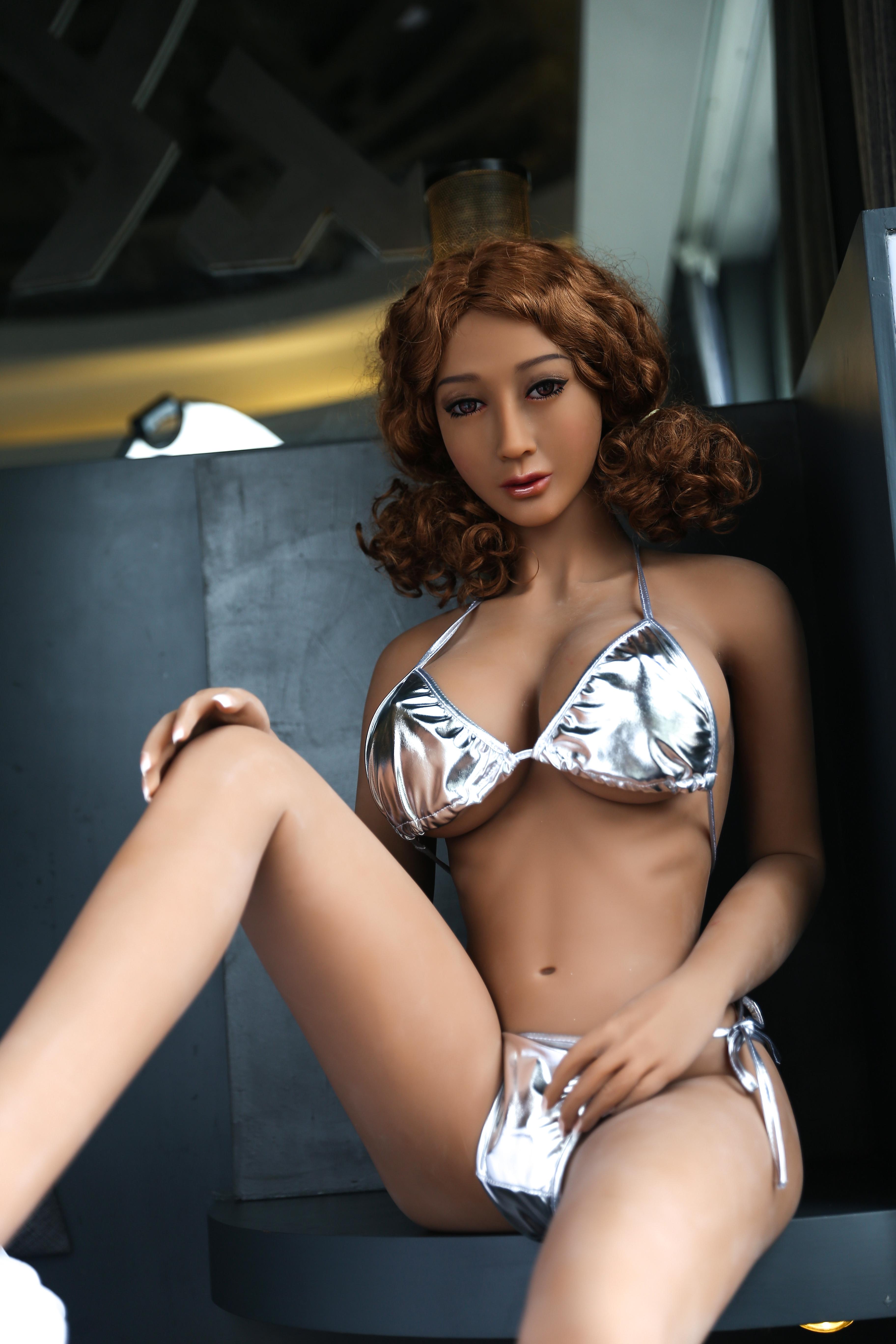 Brown Curly Hair Heatable TPE Sex Doll Katie - 165cm